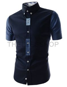 (AL645-NAVY) Slim Fit Button Down Two Tone Placket Point Short Sleeve Stretchy Shirts