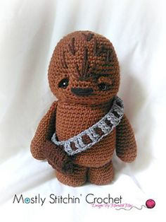 Would you rather kiss a Wookie? Well that can be arranged! My Wookie crochet pattern was inspired by my favorite movies of all time! He was designed to cuddle, but is also free standing!! If you are a Star Wars fan or know someone who loves Star Wars this pattern will be a guaranteed hit! Fun to crochet while watching the DVD's and fun to give as a gift! Either way this easy pattern is just waiting to blast on to your hook at light speed!