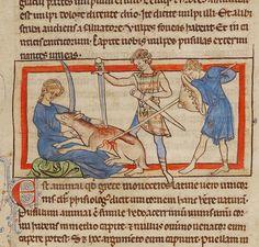 Ruthless unicorn killing. A unicorn, about 1250 - 1260, Unknown. English. J. Paul Getty Museum.
