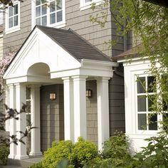 Sherwin Williams Curio Gray exterior color, colonial entryway
