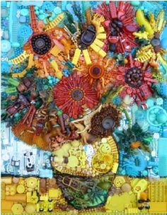 Van Gogh in buttons and more by Jane Perkins; you have to be wonderfully skilled to pull this off.