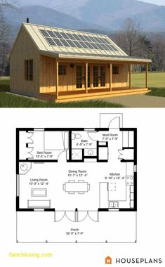 Cabins and Cottages: green rustic cabin floor plan and elevation 700 sf. Tiny House Cabin, Tiny House Living, Tiny House Plans, Cabin Homes, Log Homes, Tiny Homes, Small Log Cabin Plans, Small House Plans Under 1000 Sq Ft, Small Prefab Homes