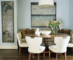 Love this solution to a small space dining room