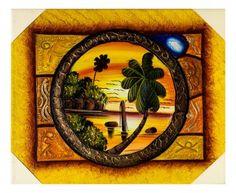 Quadro Taino con paesaggio : circondato da una cornice raffigurante ...