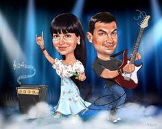 Шарж на годовщину свадьбы, подарок к ситцевой свадьбе с гитарой #филяшин #шарж #юбилей