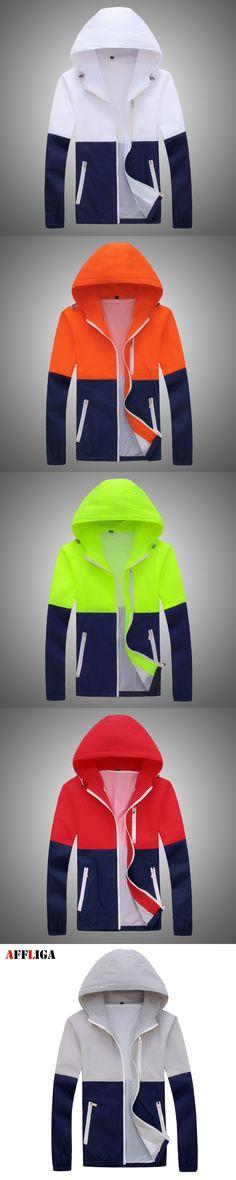 2017 Fashion High Quality Men Jacket Coats Men Causal Hooded Jacket Men Thin Windbreaker Zipper Coats Outwear AFFLIGA Brand Tops