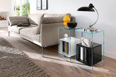 Scopri Tavolino d'appoggio Magique -/ H 56 cm, Trasparente / Scomparti bianchi di FIAM, Made In Design Italia