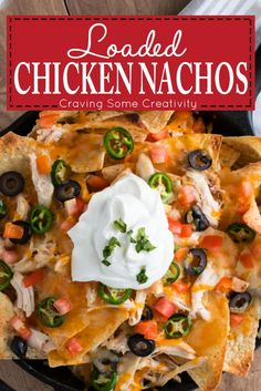 Sheetpan Chicken Nachos - easy recipe with Shredded Chicken, cheese, and all the trimmings for a supreme appetizer or super bowl party food. Easy Appetizer Recipes, Healthy Appetizers, Dinner Recipes, Easy Recipes, Super Bowl Party, Chicken Nachos Recipe, Shredded Chicken Recipes, Easy Family Meals, Easy Meals