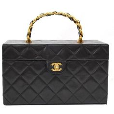 Preowned Vintage Chanel Vanity Black Quilted Leather Large Cosmetic... ($2,299) ❤ liked on Polyvore featuring beauty products, beauty accessories, bags & cases, bags, black, makeup purse, travel kit, chanel makeup bag, cosmetic purse and chanel