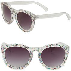 Circus by Sam Edelman 57MM Glitter Round Sunglasses (115 BRL) ❤ liked on Polyvore featuring accessories, eyewear, sunglasses, multi colored, plastic glasses, round sunglasses, uv protection glasses, round lens glasses and round glasses