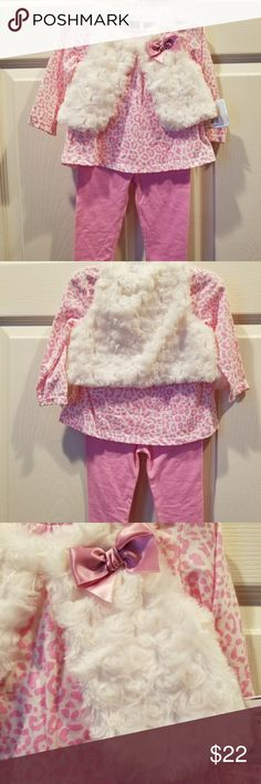 3 piece set Pink leopard long sleeve shirt with matching pants and coordinating swirl faux fur vest Cuddle Bear Collection Matching Sets