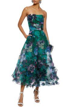 af4c5acb100f Strapless appliquéd floral-print organza midi dress | MARCHESA NOTTE | Sale  up to 70% off