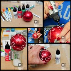 Glittered Glass Ornaments by Tracy Weinzapfel
