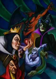 Disney Villains Collage Poster Evil Queen Jafar by ArtByDeputee
