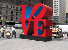 The stainless steel sculpture was shown privately during the Democratic National Convention in Denver last August. Versions of Robert Indiana's classic LOVE sculpture appear in several cities around the world, including in midtown Manhattan. Moma, Indiana Love, Love Statue, Mass Culture, Protest Art, Sculptures Céramiques, Another Love, Happiness Project, Steel Sculpture