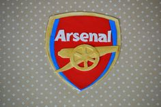 Fondant Arsenal Soccer Team cake topper by EdiblePerfections