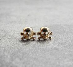 Cross Bone Skull Stud Earrings on Wanelo