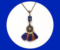 Collier lapis lazuli collier bronze ethnique et chic  idée