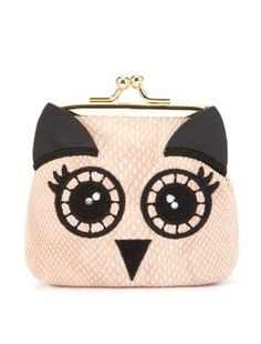 Liven up your handbag essentials! This super cute owl face purse is great for keeping your pennies safe and stylish. Features a metallic gold clip frame fastening and leather-look finish. #newlookfashion #newlook #novelty