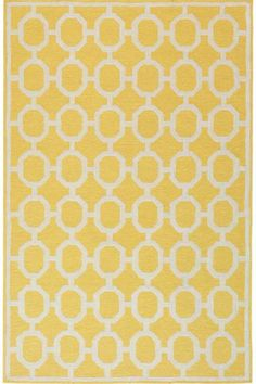 The Espana Border Area Rug features the non-traditional design that is expected from the Insideout collection. A simply simpatico indoor or outdoor area rug that's beautifully styled to complement any home decor. Yellow Rug, Yellow Area Rugs, White Rug, Indoor Outdoor Rugs, Outdoor Area Rugs, Deck Rug, Spanish Design, Synthetic Rugs, White Carpet
