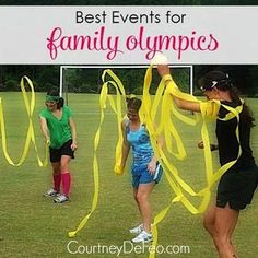 Best Events for Family Olympics - Get some families together and have your own family olympics! It's a great way to have fun and build relationships and memories at the same time! http://www.courtneydefeo.com