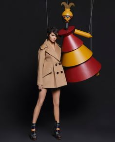 Kendall Jenner + Lily Donaldson poses alongside life-size Puppets for Fendi Fall 2015 [Campaign]