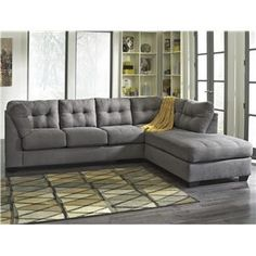 Grey Sectional Couch With Ottoman.Grey Fabric Sectional Sofa W Leather Base Optional Ottoman. Ashley Sectional, Charcoal Sectional, Grey Sectional, Fabric Sectional, Sectional Furniture, Sofa Couch, Living Room Sectional, Chaise Sofa, My Living Room