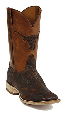 Black Jack Elephant Cowboy Boots with Texas Longhorn inlay.