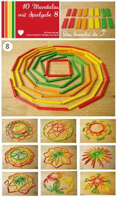 Vorlage Nr. 8 zum Mandala legen mit Kindern mit dem Legespiel Spielgabe 8: http://www.friedrich-froebel-online.de/s-p-i-e-l-g-a-b-e-n/8-legespiel-geometrische-formen/ Legespiele kaufen:  http://www.friedrich-froebel-online.de/shop/