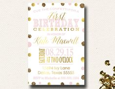 Cue the Confetti First Birthday Girl Pink Gold Glitter Invitation Glam, Sparkle and Shine