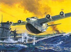Short S.25 Sunderland attacking German U-boat