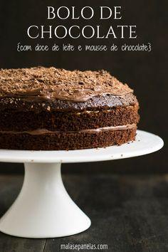 Bolo de Chocolate com Doce de Leite e Mousse de Chocolate