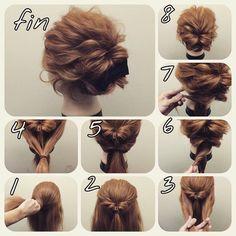 """nice 溝口 和也 ヘアアレンジ hairarrange on Instagram: """"ミディアムアレンジ 初級編 くるりんぱ二回ねじって止めるだけ 1.この幅でとります 2.くるりんぱ 3.残ってる毛をサイドも下も合わせて 4.縛る、この時に内側に捻るようにツイストさせてからしばってもいい^ ^ 5.くるりんぱ 6.余ってる毛は二つに分けて捻る…"""""""