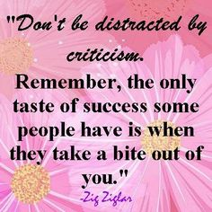 Zig - Don't Be Distracted by criticism! Pinning this in honor of Zig Zigler who passed away this week...