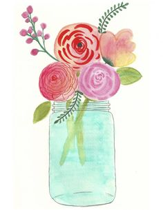 Outstanding mason jar projects are offered on our internet site. Take a look and you wont be sorry you did. Mason Jar Flowers, Mason Jar Candles, Mason Jar Lighting, Scented Candles, Mason Jar Projects, Mason Jar Crafts, Mason Jar Diy, Free Watercolor Flowers, Watercolor Ideas