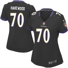 Nike NFL Baltimore Ravens 70 Ramon Harewood Elite Women Black Alternate Jersey Sale