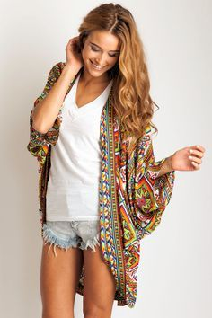 Arnhem Clothing 'Song Bird' Boho Kimono in Mayan Song. Via Soleilblue. Estilo Boho, Look Boho, Look Chic, Looks Style, Style Me, Chill Style, Look Fashion, Fashion Beauty, Vogue Fashion