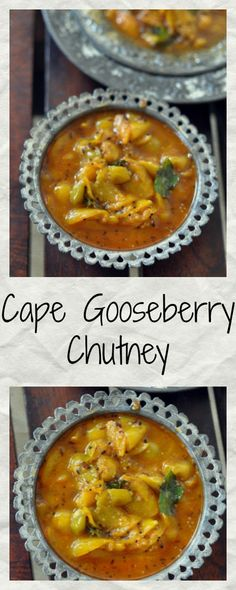 Cape Gooseberry aka rasbhari chutney is very popular at home with parantha and dosas. The hint of ginger and panch phoran give it a sharpness that balances the sourness of rasbhari Chutney Recipes, Jam Recipes, Raw Food Recipes, Indian Food Recipes, Healthy Recipes, Ethnic Recipes, Gooseberry Jam, Gooseberry Recipes, Sauces