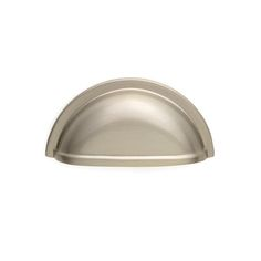 This silver satin finish cabinet/drawer cup pull with smooth half round grip design is part of the scroll suite hardware collection from Cliffside Industries and is perfect for use on cabinet doors and drawers capable of accepting a mounted pull.