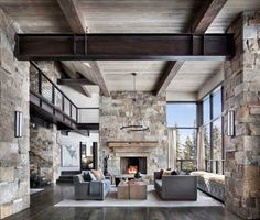 This mountain modern dwelling was designed by Centre Sky Architecture, located in the community of Moonlight Basin in Big Sky, Montana. modern home Incredible mountain modern dwelling offers slope-side living in Montana Modern Mountain Home, Mountain Homes, Mountain Club, Modern Rustic, Modern Farmhouse, Rustic Chic, Rustic Elegance, Rustic Wood, Modern Decor