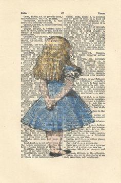 alice in wonderland vintage print wall art quote book art