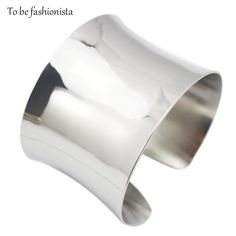 2016 New Fashion design in stainless steel material shiny women wide  plain cuff bracelets bangles silver  color