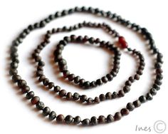 Set Of Raw Unpolished Black Baltic Amber Baby Teething Necklace For Baby and Reminding Necklace and Bracelet for Mommy
