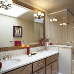 Example of Bathroom Mirror going all the way across…..