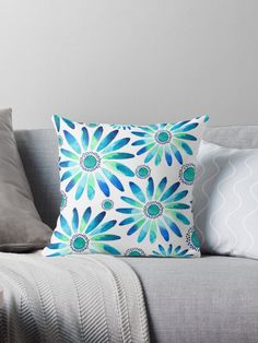 Blue daisy pattern • Also buy this artwork on home decor, apparel, stickers, and more. @redbubble Daisy watercolor pattern by amaya #amaya #redbubble #pillow #flower #botanical #blue #watercolor #artist