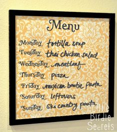 Menu Boards - Write On/Wipe Off... change the insert to match the season or your decor! Easy to make!!