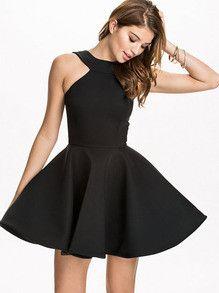 Fall Fashion Black Halter Backless Flare Dress
