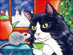 tuxedo cats christmas paintings | Tuxedo Cat & Little Mouse having Christmas Tee - by Lisa Monica Nelson ...