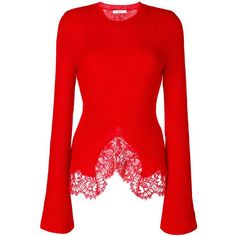 Givenchy Red Lace Trim Knitted Jumper ($1,795) ❤ liked on Polyvore featuring tops, sweaters, red, long sleeve sweater, flared top, slit tops, stitch sweater and red jumper