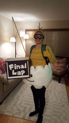 Dressed as favorite character from Mario Kart for Halloween.